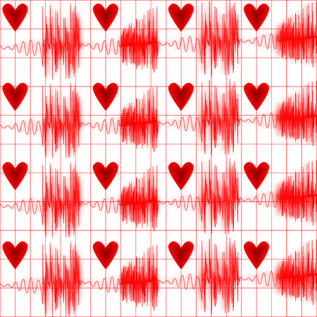 taking pulse: Medical seamless pattern cardiogram with heart Illustration