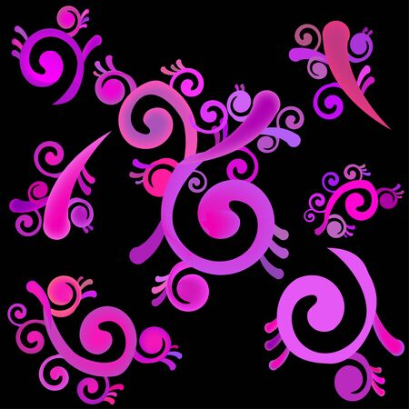 abstract seamless pattern with pink curls Illustration