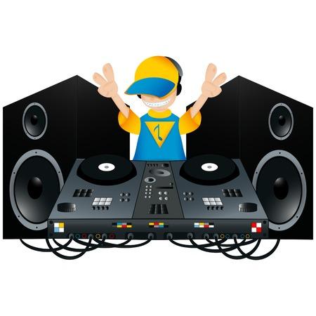 lustigen Comic-DJ mit einem Plattenspieler und zwei Lautsprecher
