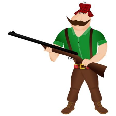 Cartoon hunter on a white background. Vector illustration