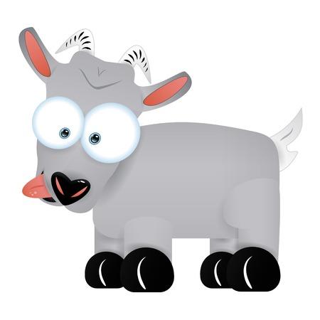 aislado divertido del personaje de dibujos animados gris lindo de cabra