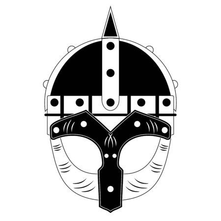 ancient civilization: vector black and white Nordic Viking helmet
