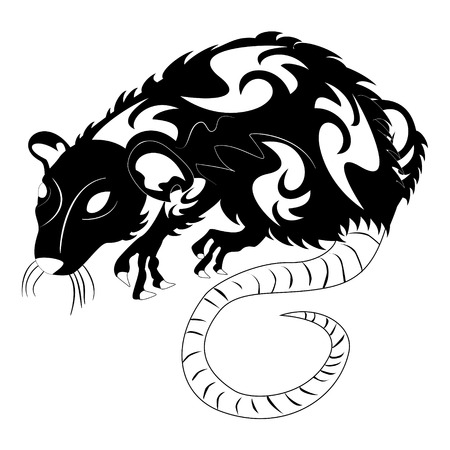 plague: illustration of a rat tattoo design black and white.