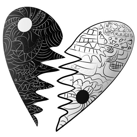 Schwarz-Weiß-Zeichen, Symbol Symbol gebrochenes Herz Stil Vektorgrafik