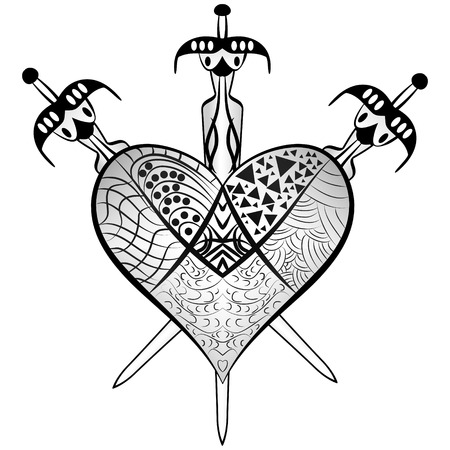 heartbreak: detailed ornaments heart and three swords