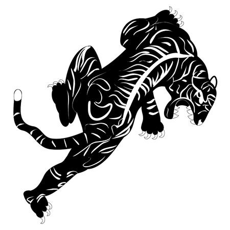 tribal tattoo design: Black and white monochrome image of tiger tattoo Illustration