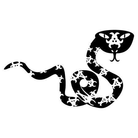 coral snake: Creative Eastern Coral Snake black and white Illustration