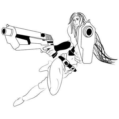 sketch cartoon girl with two pistols Illustration
