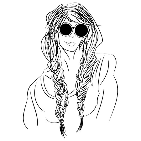 pigtails: ink sketch hippie girl with pigtails wearing glasses