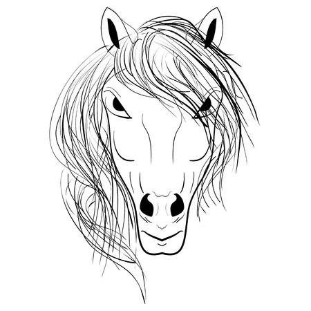 Horse head emblem. Horse ink doodle sketch