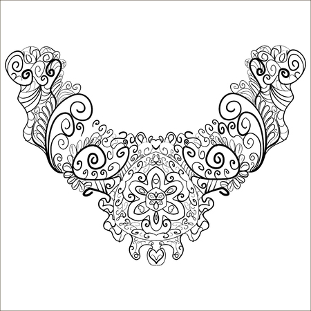 Neck print floral design. Fashion white lace collar.