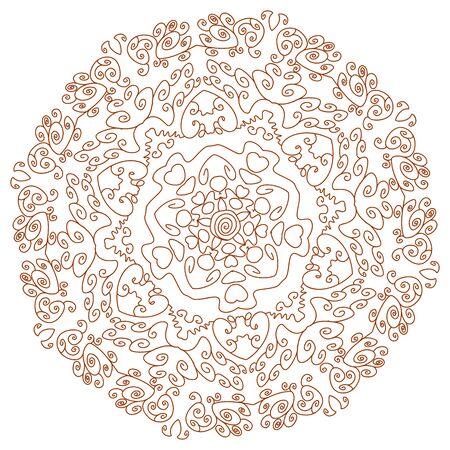 yantra: Circular ornament Mehndi Henna Tattoo Mandala, Yantra brown. Vintage banner frame card for text invitations for wedding birthday celebration, white background indian, ethnic, boho