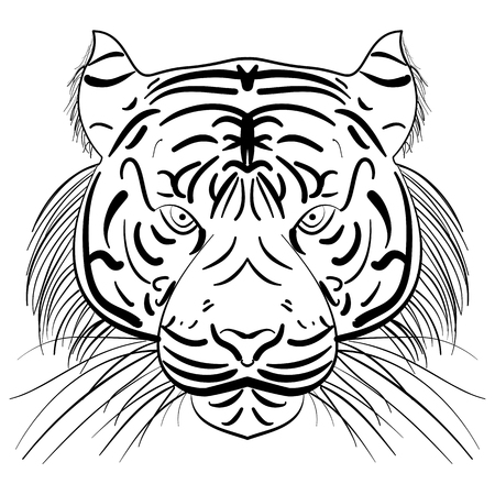 stylized face of ink sketch chinese tiger, tribal tattoo