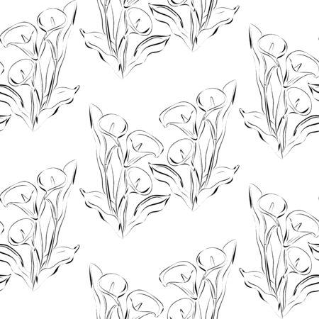 White Callas: Patr�n transparente con flores calas. fondo blanco y negro. Todos los elementos que no se recortan y ocultos bajo la m�scara.