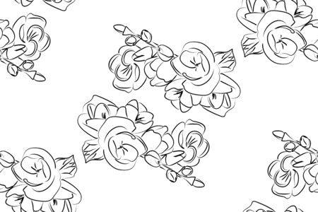 cropped: Seamless vector pattern with flowers hydrangeas. Black and white background. All elements are not cropped and hidden under mask.