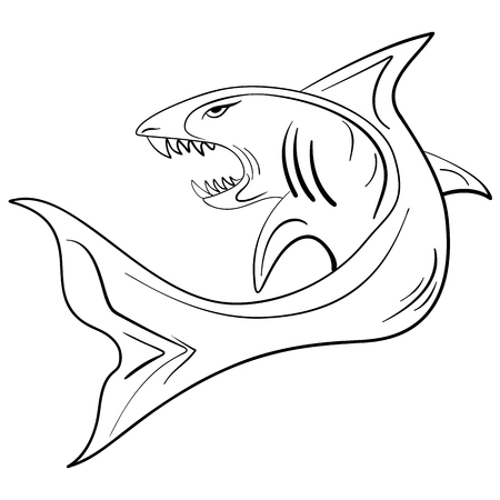 animalistic: Hand-drawn large shark with an open mouth, grunge ink sketch shark