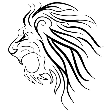 zodiac anger: Graphic silhouette roaring lion. Lion tattoo ink sketch