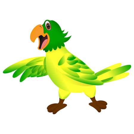 green yellow: Green yellow parrot pointing or showing something with his wing