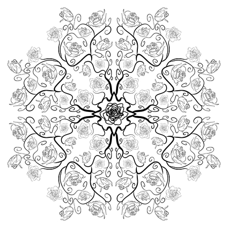uncolored: Uncolored colouring book luxury roses in zenart style, black and white mandala roses Illustration