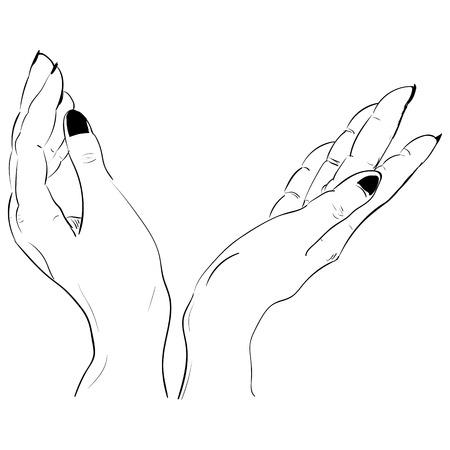 dessin à l'encre deux mains tenant quelque chose Vecteurs
