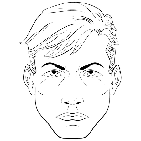 handsome man face: Sketch. Portrait of a handsome man, face close-up, black and white illustration man face pattern