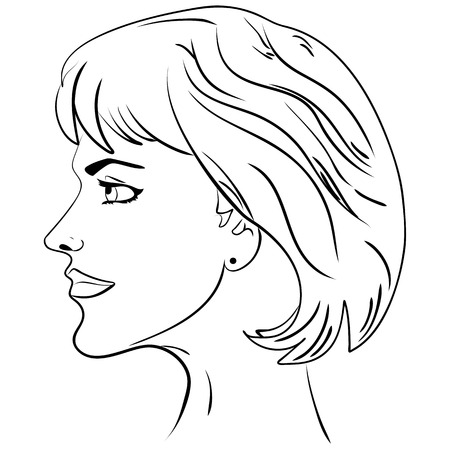 human face: beautiful woman face illustration sketch head women face in profile