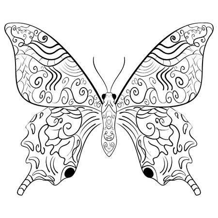 Butterfly Coloring Book For Adults Illustration Anti Stress Adult Stock Vector