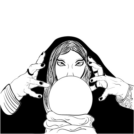 presage: Sketchy woman fortune teller with crystal ball black white Prophetess sketch vector Illustration