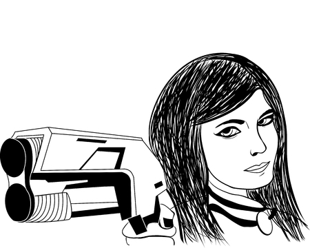 girl with gun: smiling girl with a gun ink sketch vector