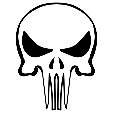 illustration of a simple cartoon skull ink sketch vector