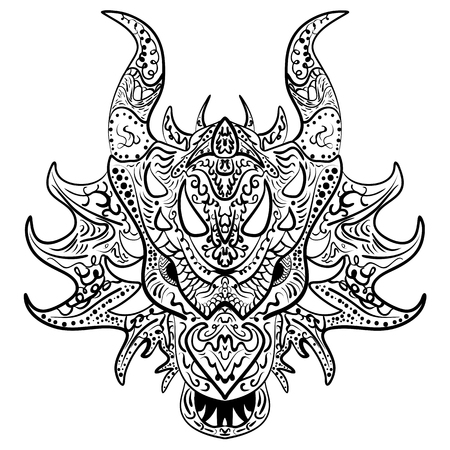 Dragon doodle vector head. Zen art ethnic drawing, ornamental print. Animal illustration suits as tattoo, logo, decorative ornate detailed, coloring book sketch.