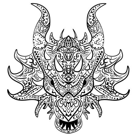 Dragon head vecteur doodle. Zen art de dessin ethnique, impression ornementale. costumes d'illustration des animaux comme tatouage, logo, décoratif orné détaillée, coloriage carnet de croquis.