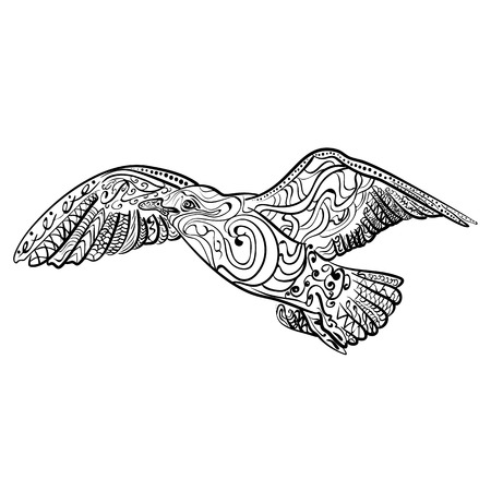 Flying seagull with high details. Adult antistress coloring page. Black white hand drawn doodle oceanic bird. Sketch for tattoo, poster, print, t-shirt in style. Vector illustration. Illustration