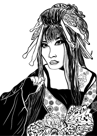 stylized cartoon geisha woman (japanese dancing actress). Hand drawn sketch Illustration
