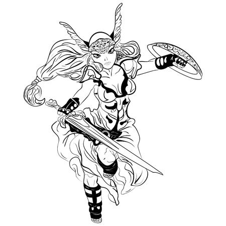 valkyrie: black and white sketch cartoon Valkyrie. Viking Girl Illustration
