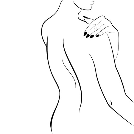 women body: Abstract outline background with beautiful young woman standing back. Sketch artwork