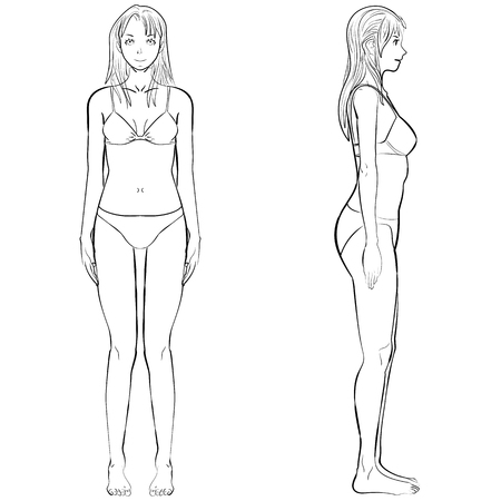 knickers: sketch template girl illustration woman body front and side view in outline