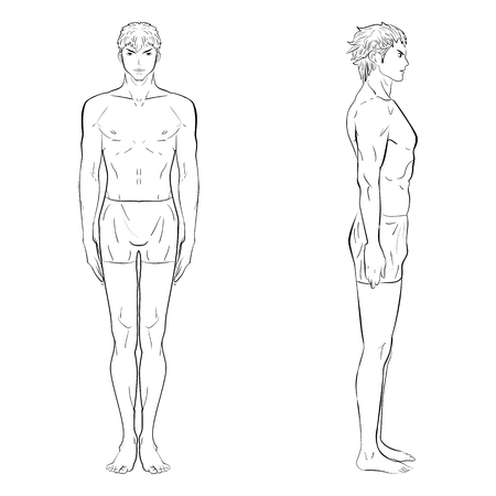 appearance: sketch template of mens figure. Front, side views. Silhouettes Illustration