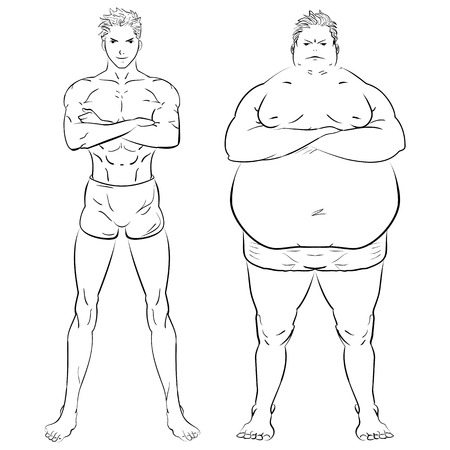 two different men, fat, skinny and muscular. Fitness studio training weight loss. Hand drawn doodle illustration.