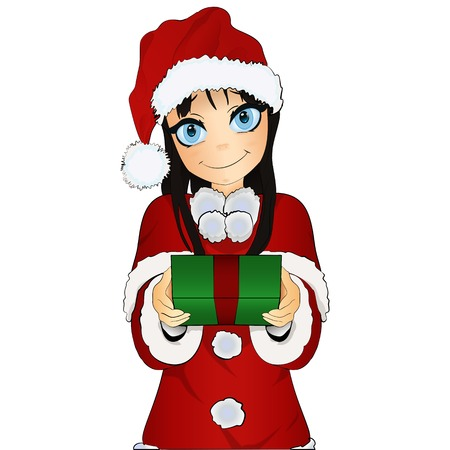 give a gift: Cute christmas girl Santa costume give a gift isolated on a white background Illustration