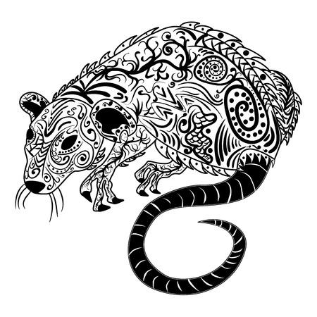 Rat chinese zodiac sign zentangle stylized, vector illustration, pattern, freehand pencil, hand drawn. Zen art. Ornate. Lace.