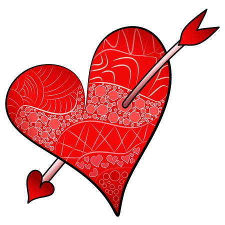 Red Valentines Day Illustration of detailed heart in zentangle style pierced with an arrow Illustration