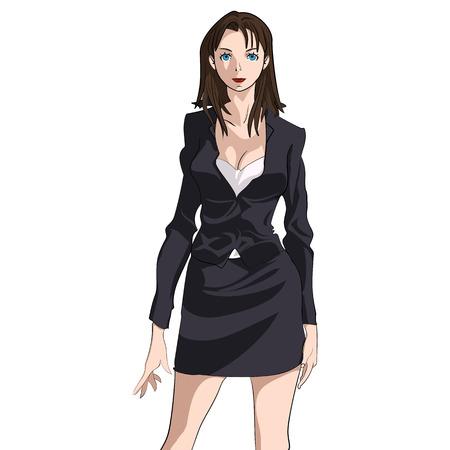 Vector Cartoon Beautiful Brunette Business Woman Standing