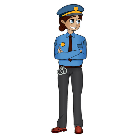 Young female police officer standing isolated on white background