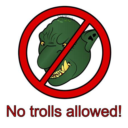 No trolls allowed sign No trolling sign vector illustration Illustration