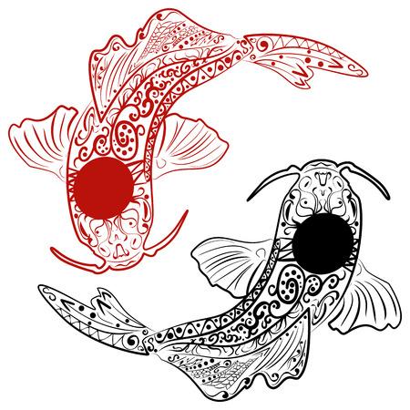 Dibujado A Mano Peces Koi. Línea De La Carpa Japonesa Dibujo Para ...