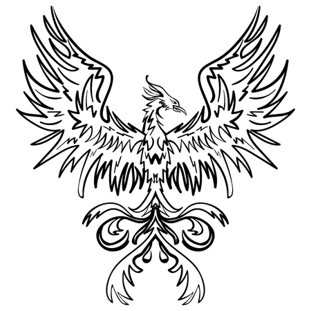 Sketch drawing of Phoenix isolated on white background tattoo phoenix