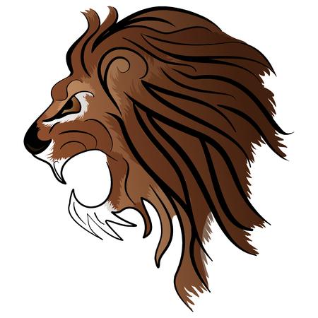 undomestic: Angry Lion Head Roaring Mascot Vector Illustration isolated on white background Illustration