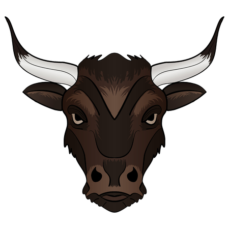 zodiac anger: Cartoon Vector Mascot Image Bull Head isolated on white background