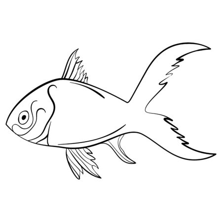 scratchy: Ink sketch fish quirky drawing Vector Illustration